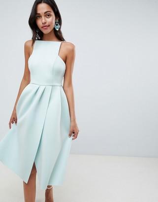 Asos Design DESIGN strappy open back midi prom dress-Blue