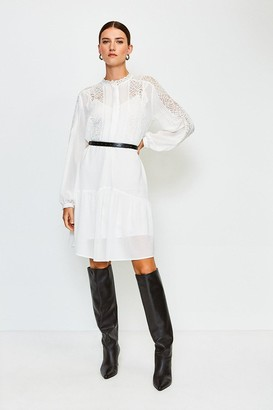 Karen Millen Lace Trim Belted Dress