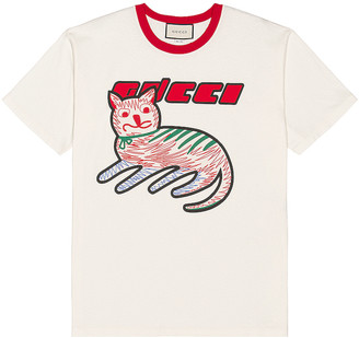 Gucci Graphic Tee in Sunlight & Live Red & Mc | FWRD