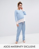 Asos Stripe Long Sleeve Pajama Set