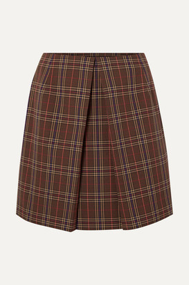 MM6 MAISON MARGIELA Pleated Checked Woven Mini Skirt - Brown