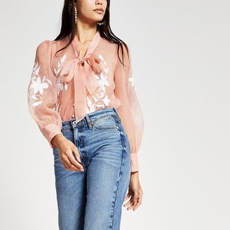 River Island Light pink organza embroidered blouse