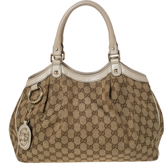 Gucci Beige/Brown GG Canvas and Leather Medium Sukey Tote