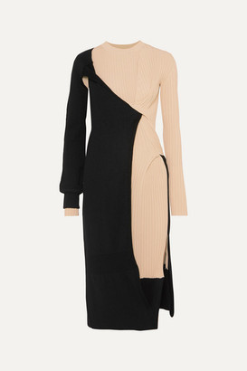 Bottega Veneta Two-tone Draped Ribbed-knit Dress - Black