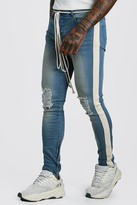 boohoo Mens Blue Skinny Busted Knee Jeans With Tape & Belt Detail, Blue