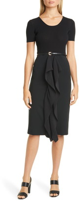 Max Mara Rapace Belted Mock Two-Piece Dress