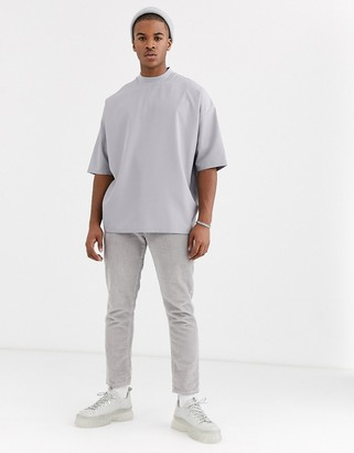 Asos DESIGN oversized t-shirt with half sleeve in woven fabric