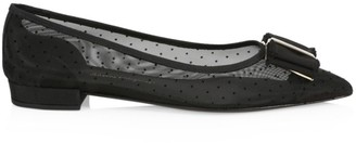 Salvatore Ferragamo Zeri Pois Point-Toe Mesh Flats