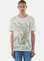 Gucci Men's Bird Print Linen T-shirt In Cream