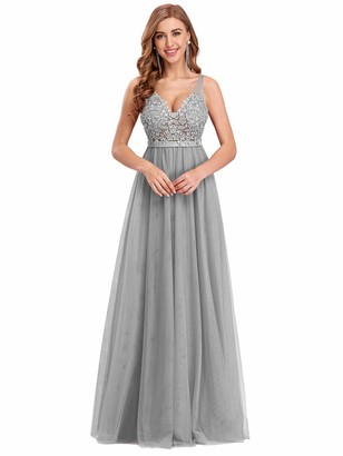 Ever Pretty Ever-Pretty Women's V Neck Floor Length Elegant A Line Tulle Long Bridesmaid Prom Dresses with Appliques Blue 14UK