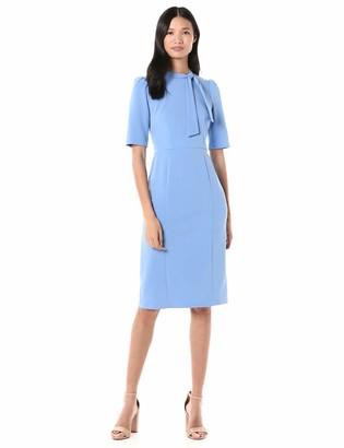 Donna Morgan Women's 3/4 Sleeve Tie Neck Crepe Sheath Dress