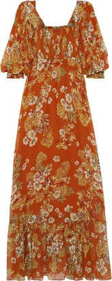 Nicholas Shirred Floral-print Silk-georgette Maxi Dress
