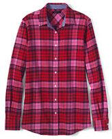 Lands' End Women's Flannel Shirt-Bright Cherry Plaid