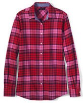 Lands' End Women's Petite Flannel Shirt-Gala Red Plaid