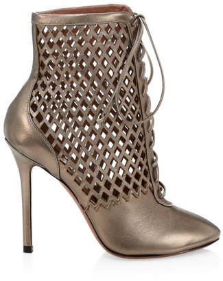 Alaia Metallic Leather Cage Booties
