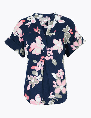 Marks and Spencer Pure Linen Floral Popover Blouse
