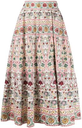 Alice + Olivia Pleated Floral Print Skirt