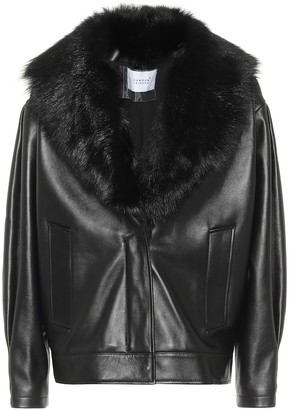 Common Leisure Faux fur-trimmed leather jacket