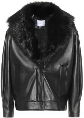 Common Leisure Faux fur-trimmed leather jacket