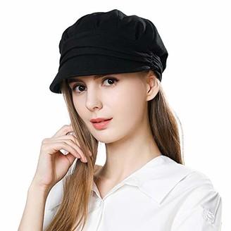 HIKARO Amazon Brand Womens 100% Cotton Newsboy Baker Boy Cap Cabbie Visor Beret Ladies Cloche Peaked Hat Black