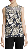 T Tahari Floral-Embroidered Sleeveless Blouse