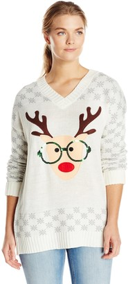 Derek Heart Junior's Plus-Size Nerdy Reindeer with Sequin Ugly Christmas Sweater