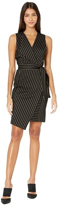 BCBGMAXAZRIA Knit Wrap Tie Dress (Black Combo) Women's Dress