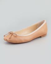 Christian Louboutin Rosella Square-Toe Ballerina Flat, Nude