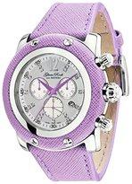 Glam Rock Women's Miami Diamond 46mm Purple Leather Band Steel Case Swiss Quartz Analog Watch GR11108