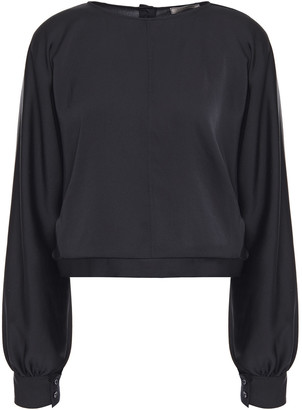 Nina Ricci Gathered Hammered-satin Blouse