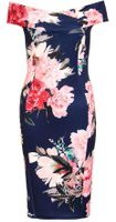 Dorothy Perkins Womens *Quiz Navy Floral Bardot Midi Dress- Navy