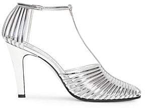 Givenchy Women's Cage Metallic Leather T-Strap Sandals