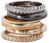Women's Multiple Textured Stackable Rings - Multicolor (7)