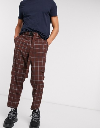 Asos DESIGN oversized tapered check smart pants with cargo pockets and belt