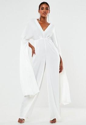 Missguided White Satin Kimono Sleeve Wide Leg Wedding Romper
