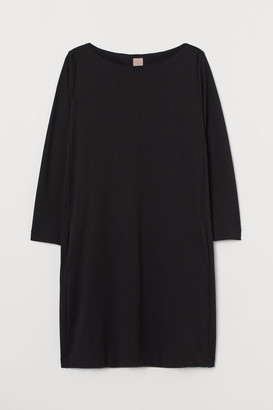H&M H&M+ Boat-neck Jersey Dress - Black