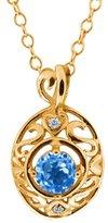 Gem Stone King 0.61 Ct Round Swiss Blue Topaz and White Diamond 18k Yellow Gold Pendant
