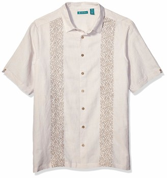 Cubavera Men's Big and Tall Tabaco Leaf Embroidered Panel Shirt