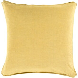 """Electa Border Linen Pillow Cover Rosecliff Heights Size: 22"""" x 22"""", Color: Olive/Wheat"""