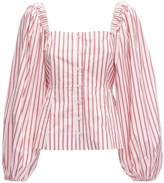 Ganni Striped Cotton Poplin Shirt