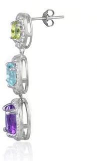 Glitzy Rocks Sterling Silver Multi Gemstone and Diamond Earrings