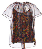Zac Posen Blossom Tulle Pleat Front Top