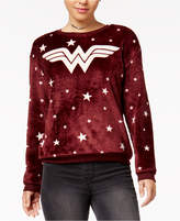 Hybrid Juniors' Wonder Woman Star-Print Plush Sweatshirt