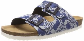 Tommy Jeans Women's Allover Denim Print Flat Sandal