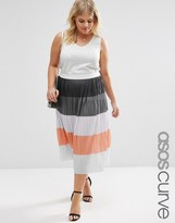 Asos Pleated Skirt in Color Block