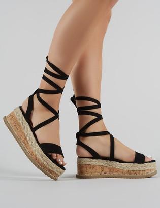 Public Desire Uk Fresca Lace Up Sandal Faux Suede