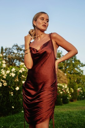 Nasty Gal Womens In Love With the Drape of You Satin Cowl Dress - Brown - 10