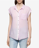 Calvin Klein Jeans Striped Cuffed-Sleeve Shirt