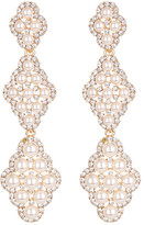 Natasha Accessories Long Synthetic Pearl & Crystal Drop Earrings