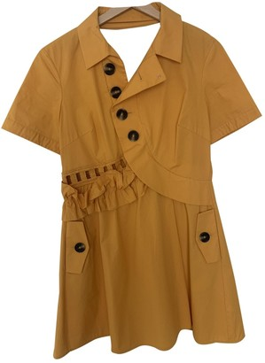 Self-Portrait Yellow Cotton Dress for Women
